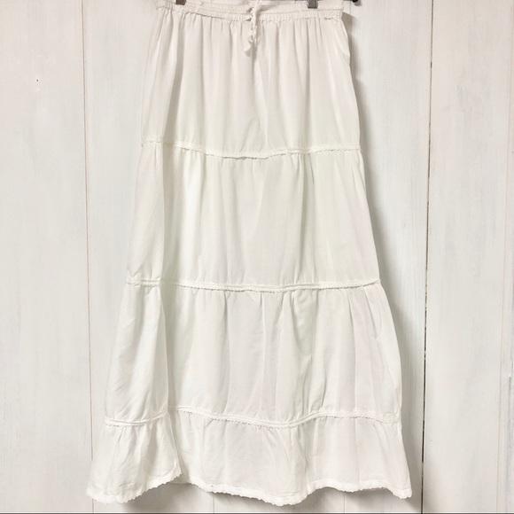 Boho White Midi/ Maxi Skirt